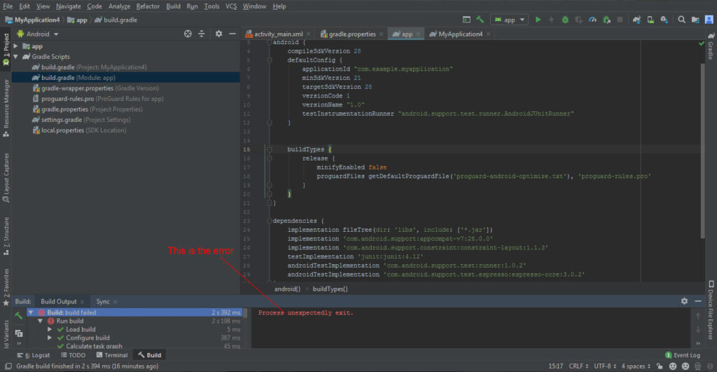 Android Studio error process unexpectedly exit - Blogcani